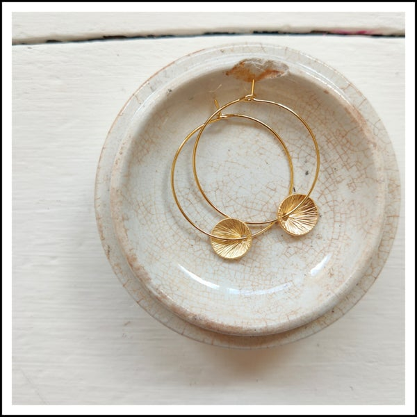 Image of Gold disc hoops