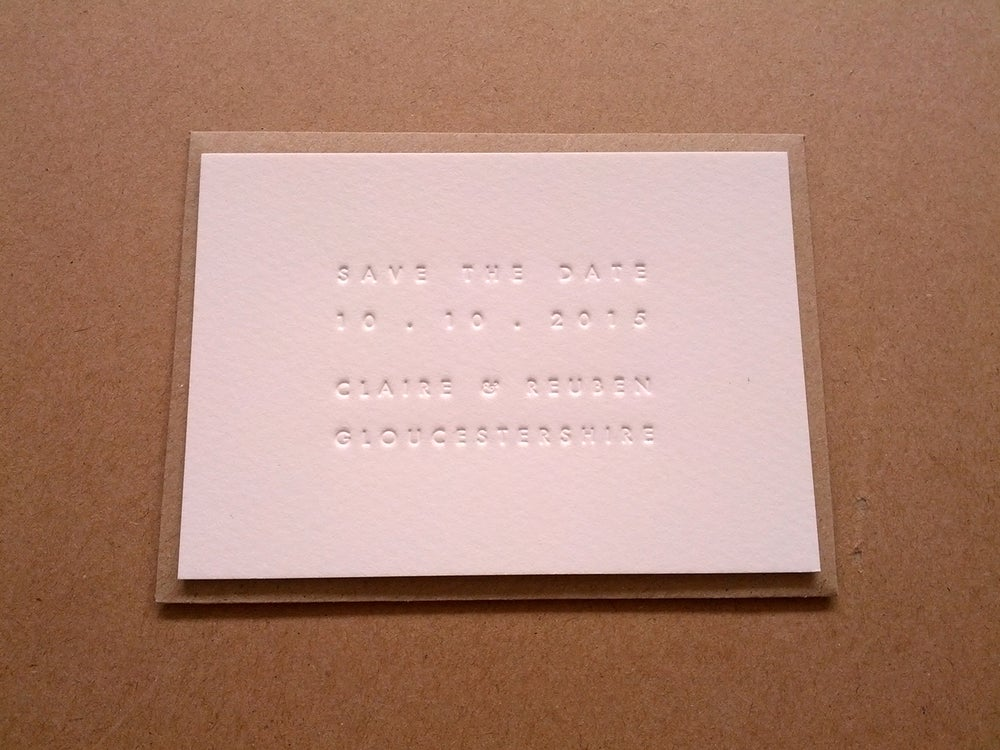 Image of Charlotte and matt, letterpress inkless save the dates
