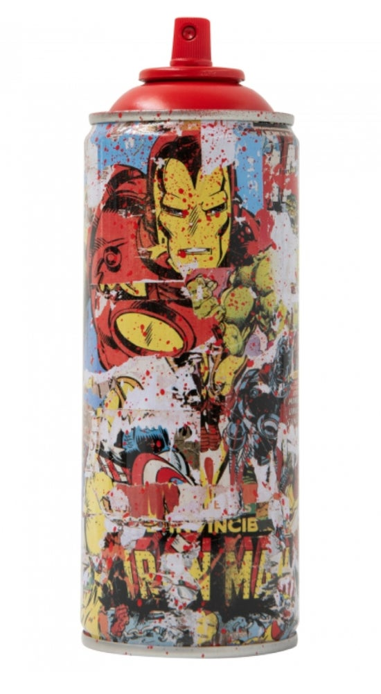 """Image of MR BRAINWASH - SPRAY CAN`S """"SUPER HERO`S"""" -  COMPLETE RED SET OF 4 HAND EMBELLISHED"""