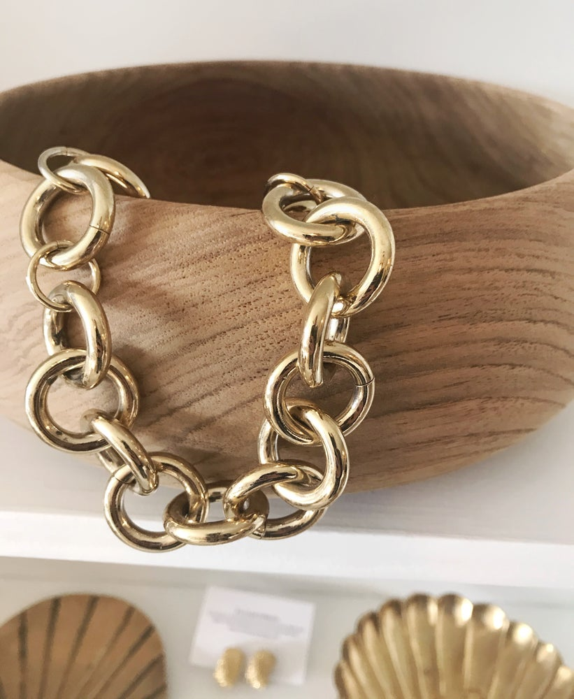 Image of Chunky Linked Gold Necklace