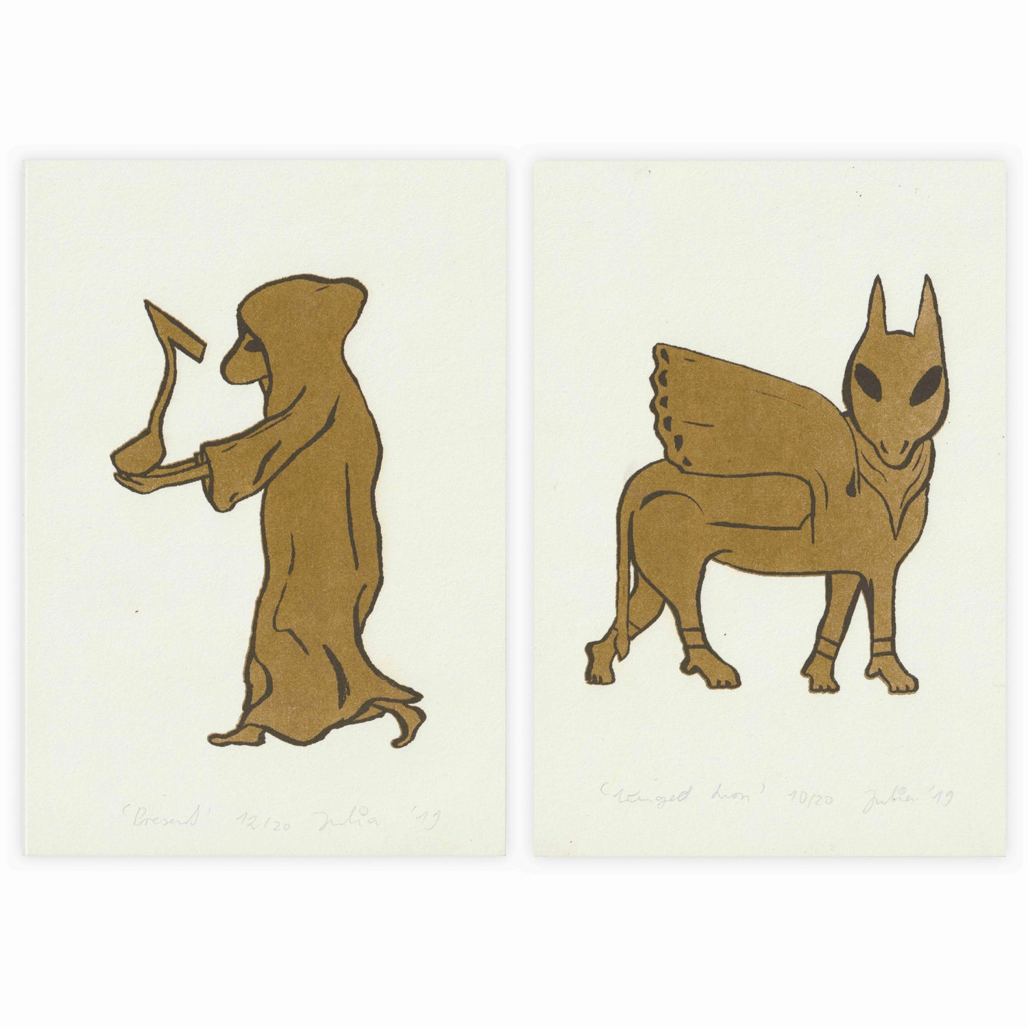 Image of Two-Print-Set 'Winged Lion' and 'Present' 15 x 22 cm