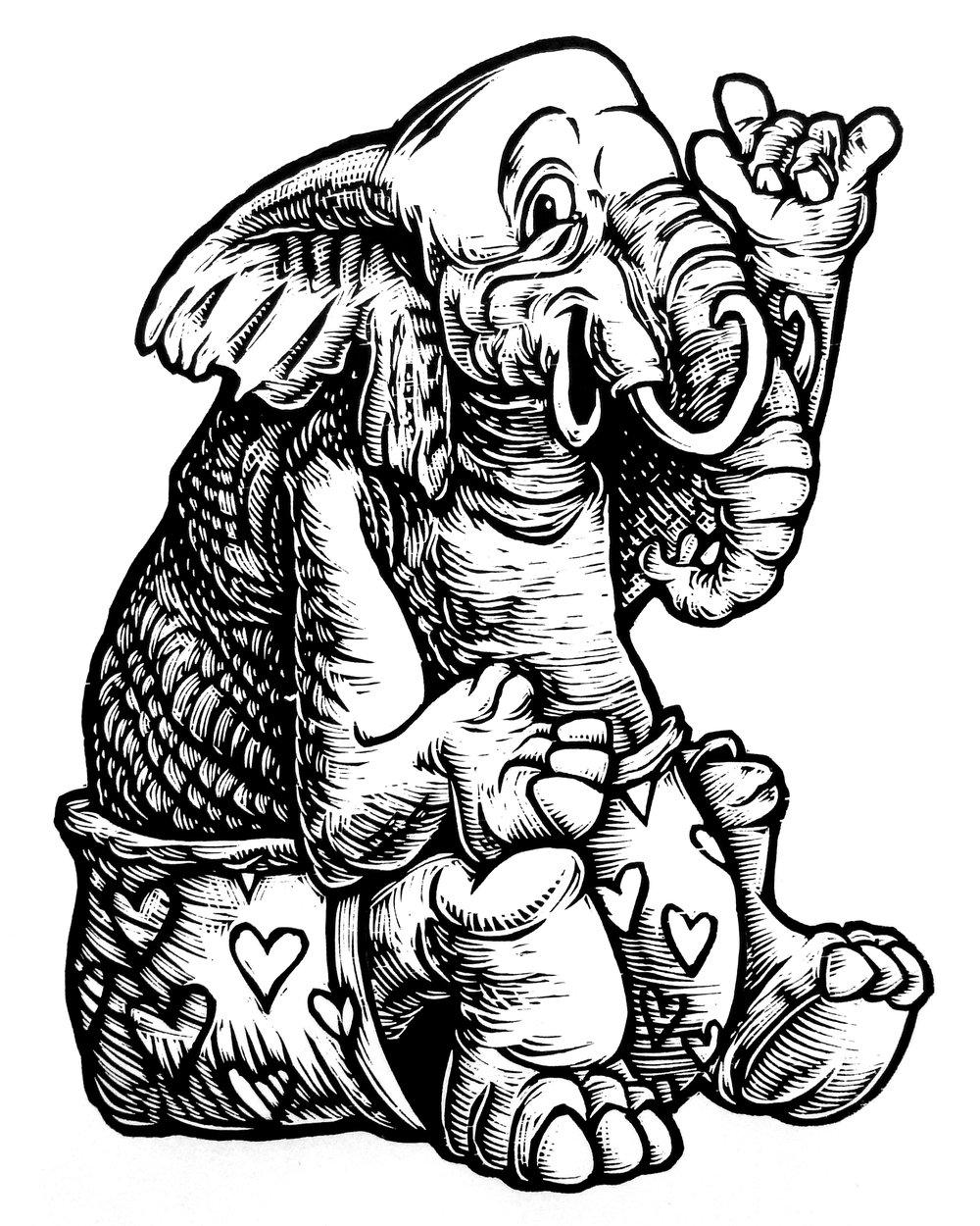 Elephant Love T-shirt (B2)  **FREE SHIPPING**