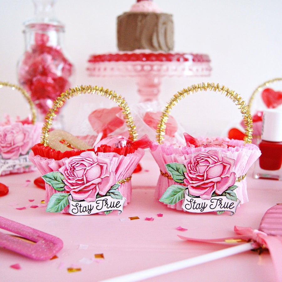 Image of Vintage inspired Valentine treat cups (Choice of set of 2. Variety set or Pink on Pink)