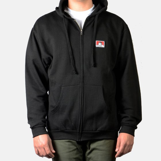 Image of Ben Davis Hooded Zip Sweatshirt – Black