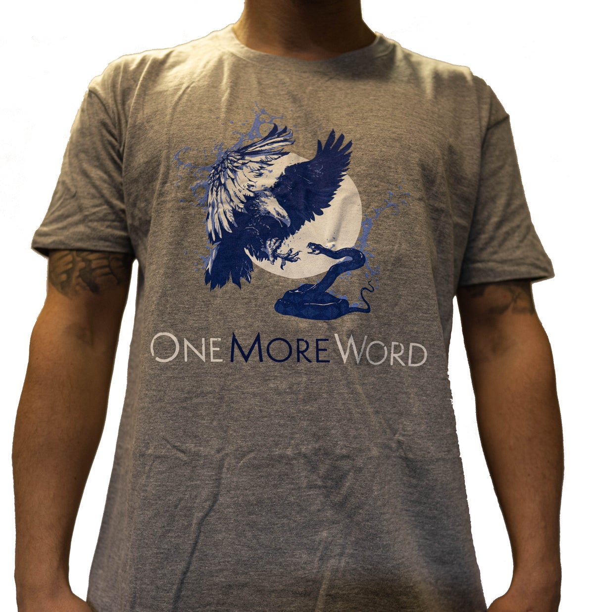"""EAGLE & SNAKE"" Blue on Grey T-Shirt"