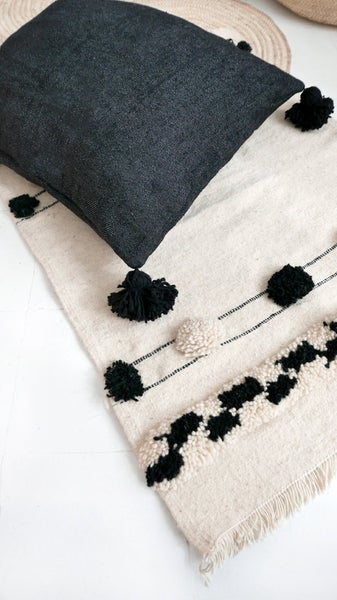 Image of Big Moroccan POM POM Cotton Pillow Cover - Black