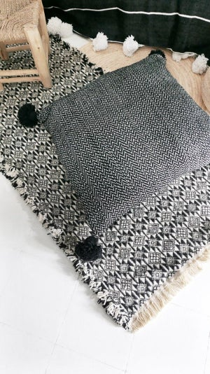 Image of Big Moroccan POM POM Cotton Pillow Cover - Black and White - Zigzag