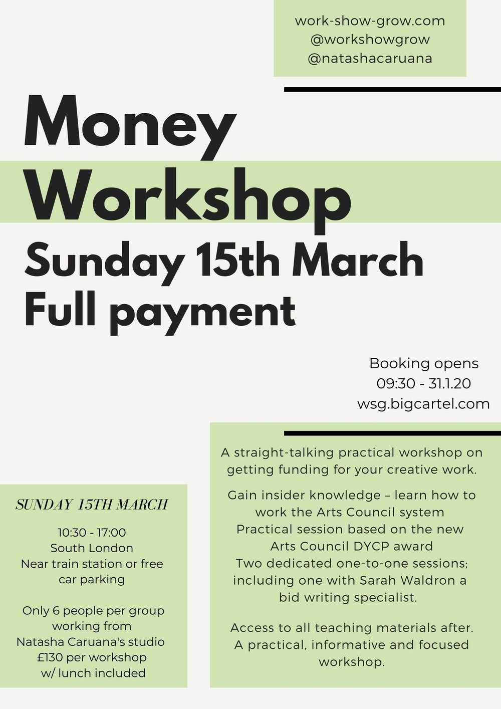 Image of MONEY - Sunday 15th March - Full payment