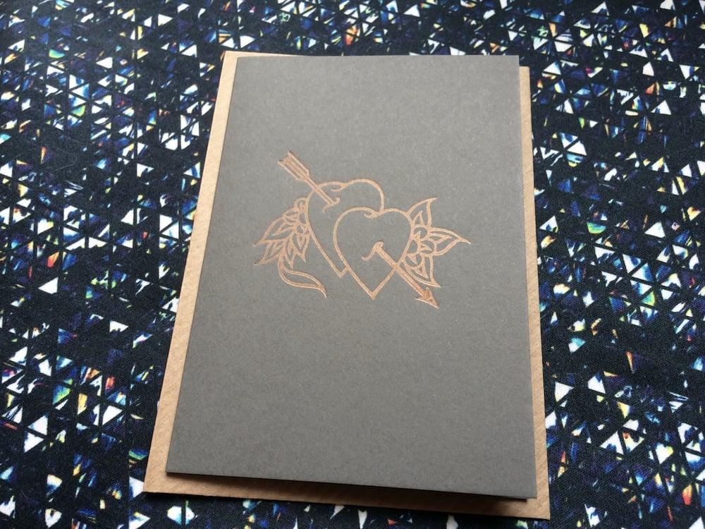 Image of LETTERPRESS VALENTINE'S CARD - BRASS GOLD HEART