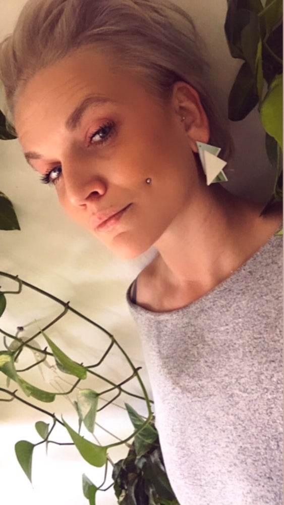 Image of Náusnice Sia white - silver / gold mirror