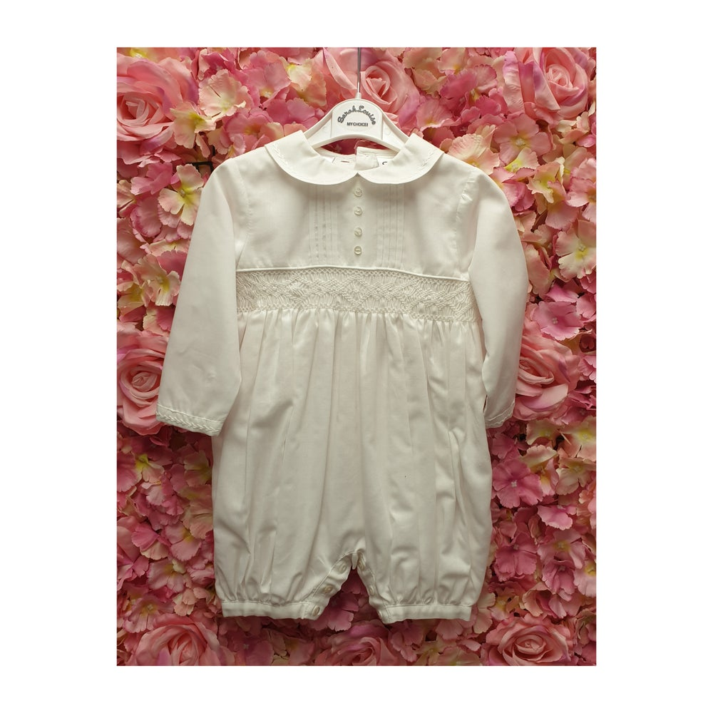 Image of Ivory Smocked Cotton Romper
