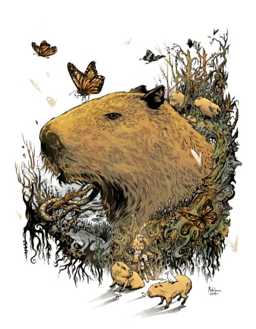 Image of Capybara Queen - MIRROR GLASS ART/framed.