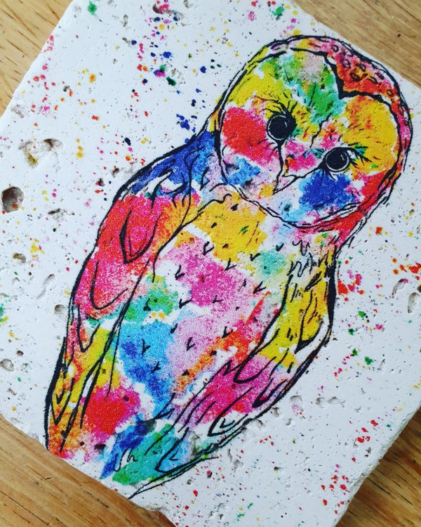 Image of 'Rainbow Owl' Stone Coaster