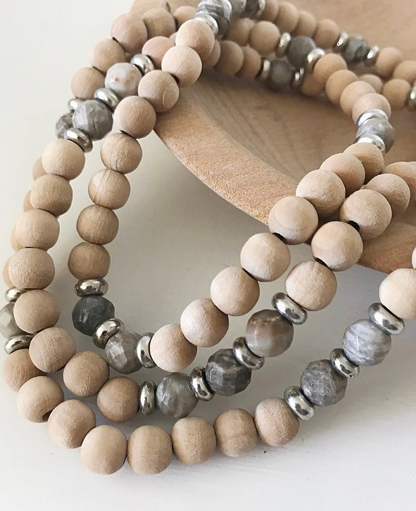 Image of Love Bead Necklace #100 - Dried Palm Wood Beads with Gemstones