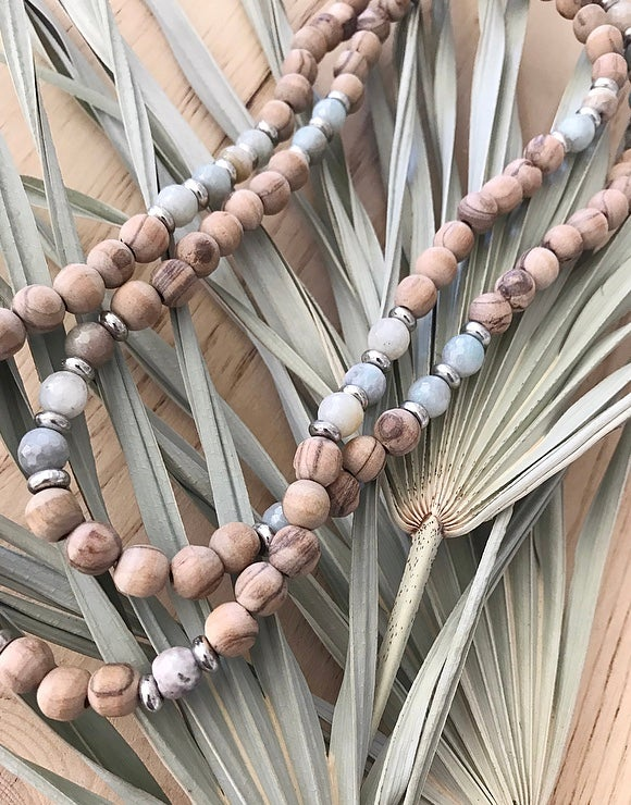 Image of Love Bead Necklace #101 - Olive Wood Beads with Gemstones
