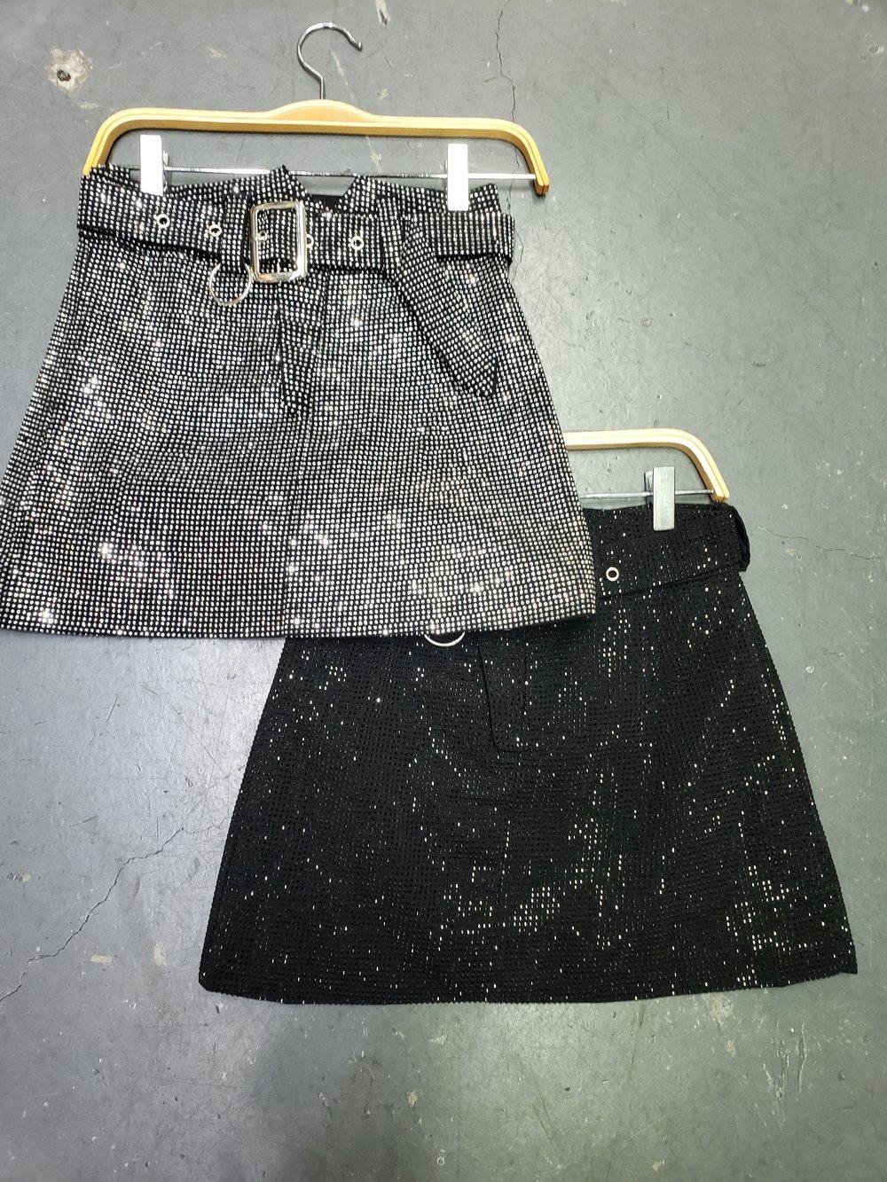 Image of Black Rhinestone Skirt