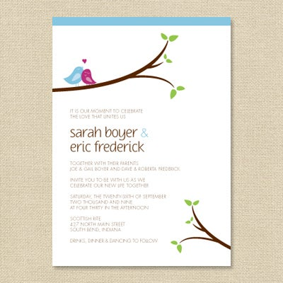 These Darling Love Bird Themed Wedding Invitations ...