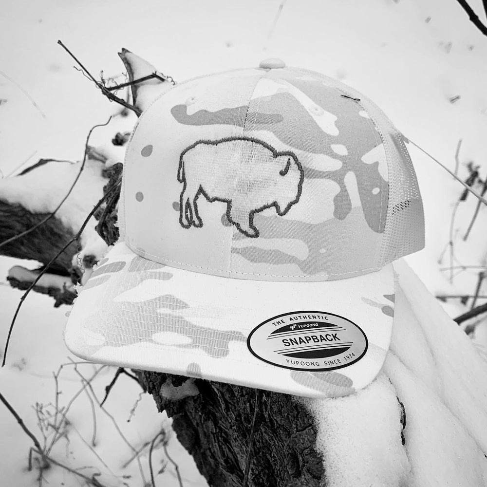 Image of BLACK BISON WHITEOUT CAMO SNAPBACK