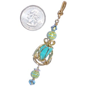 Image of Blue Peruvian Opal Wire Wrapped 14K GF Pendant