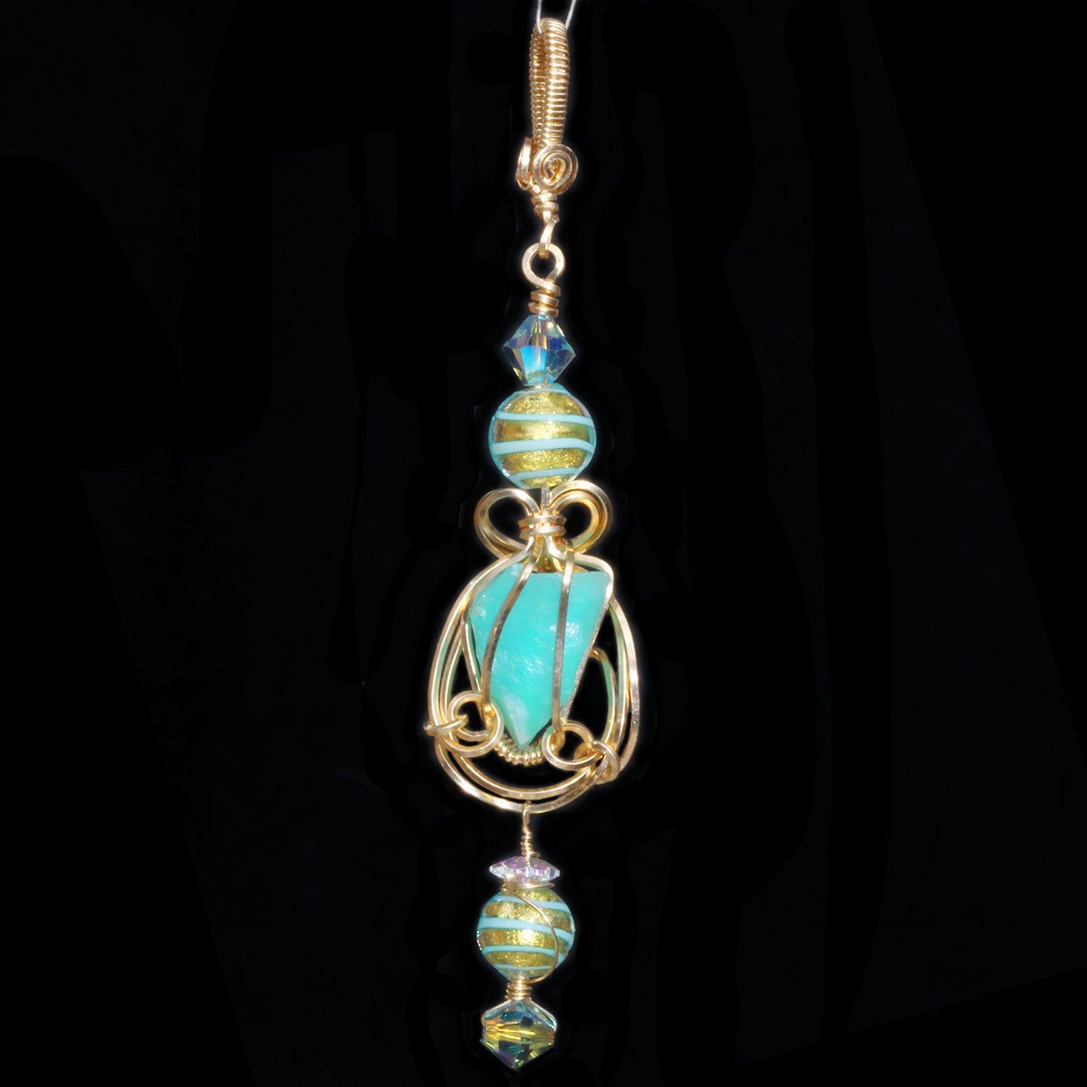 Blue Peruvian Opal Wire Wrapped 14K GF Pendant