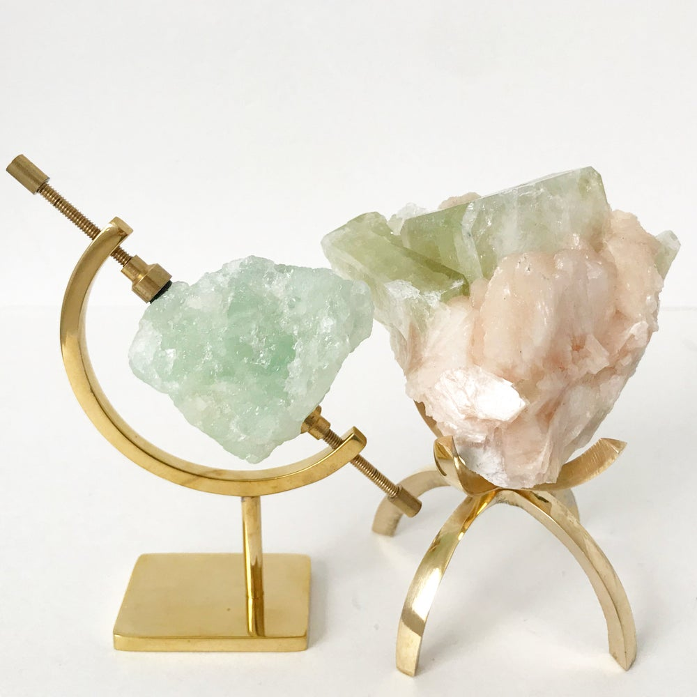 Image of Green Apophyllite/Stilbite no.03 Pink Cactus Collection Brass Claw Pairing