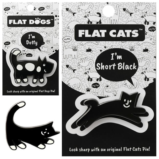 Image of Flat Cats & Flat Dogs Pins - Exclusive to the Crafty Squirrel!