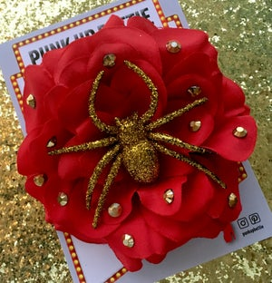 Image of Spooky Sparkly Spider Rose Hair Flower - Red Rose/Gold Spider
