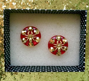 Image of Arachno Fabulous Spider Earrings - Red/Gold