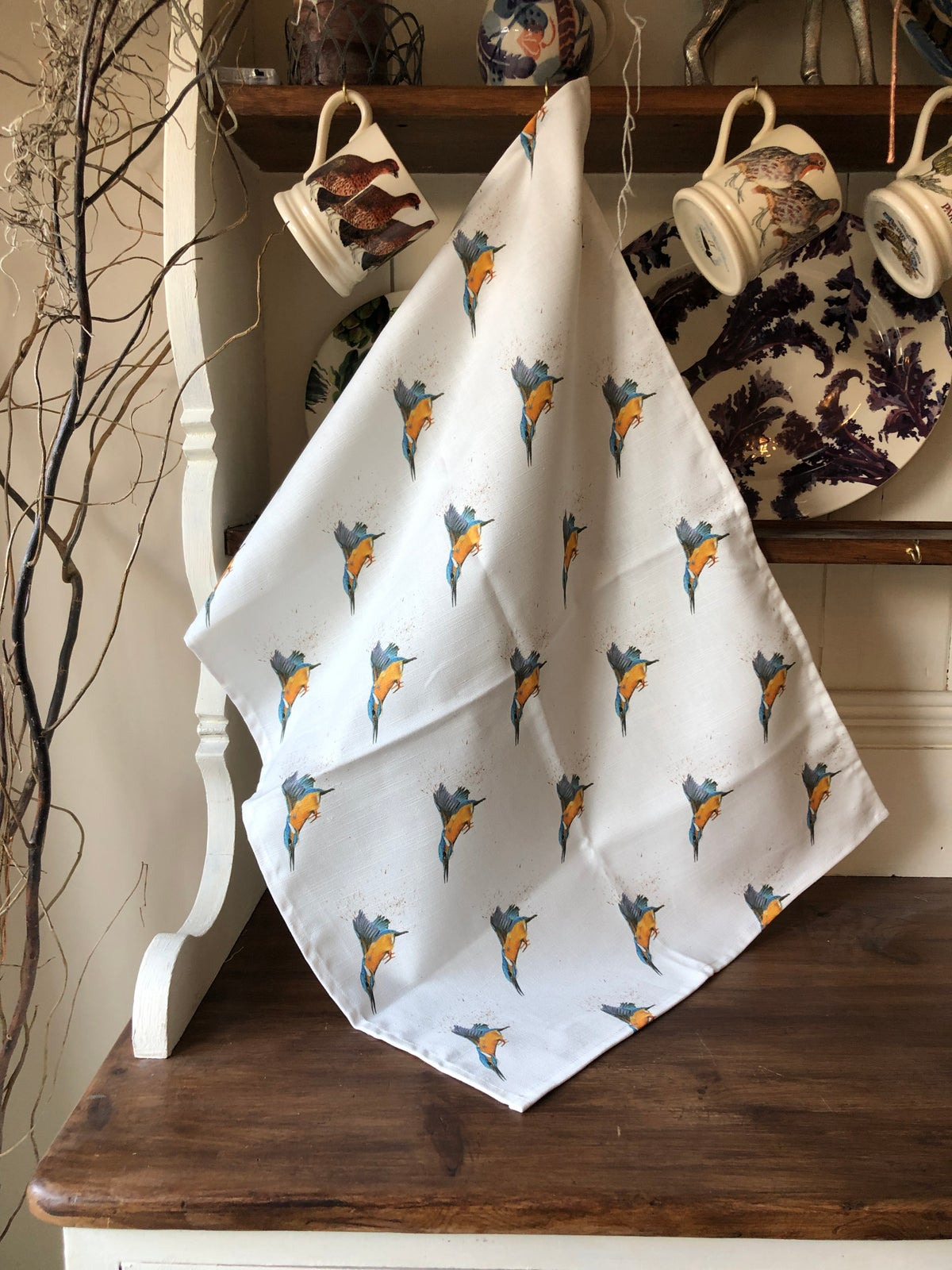 Image of 'Dive' The kingfisher Tea Towel