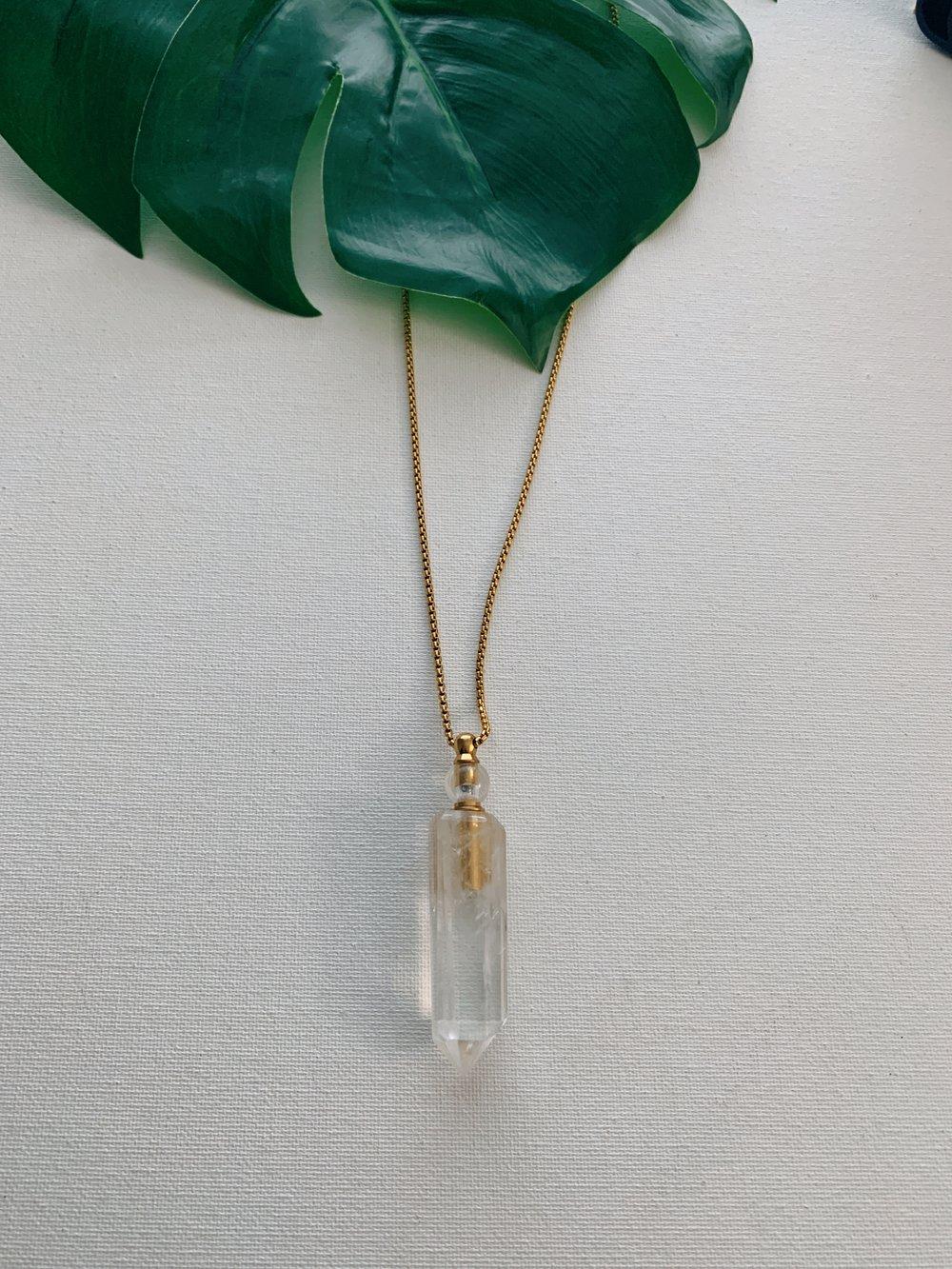 Image of OG ANGEL • Clear Quartz Potion Flask Necklace