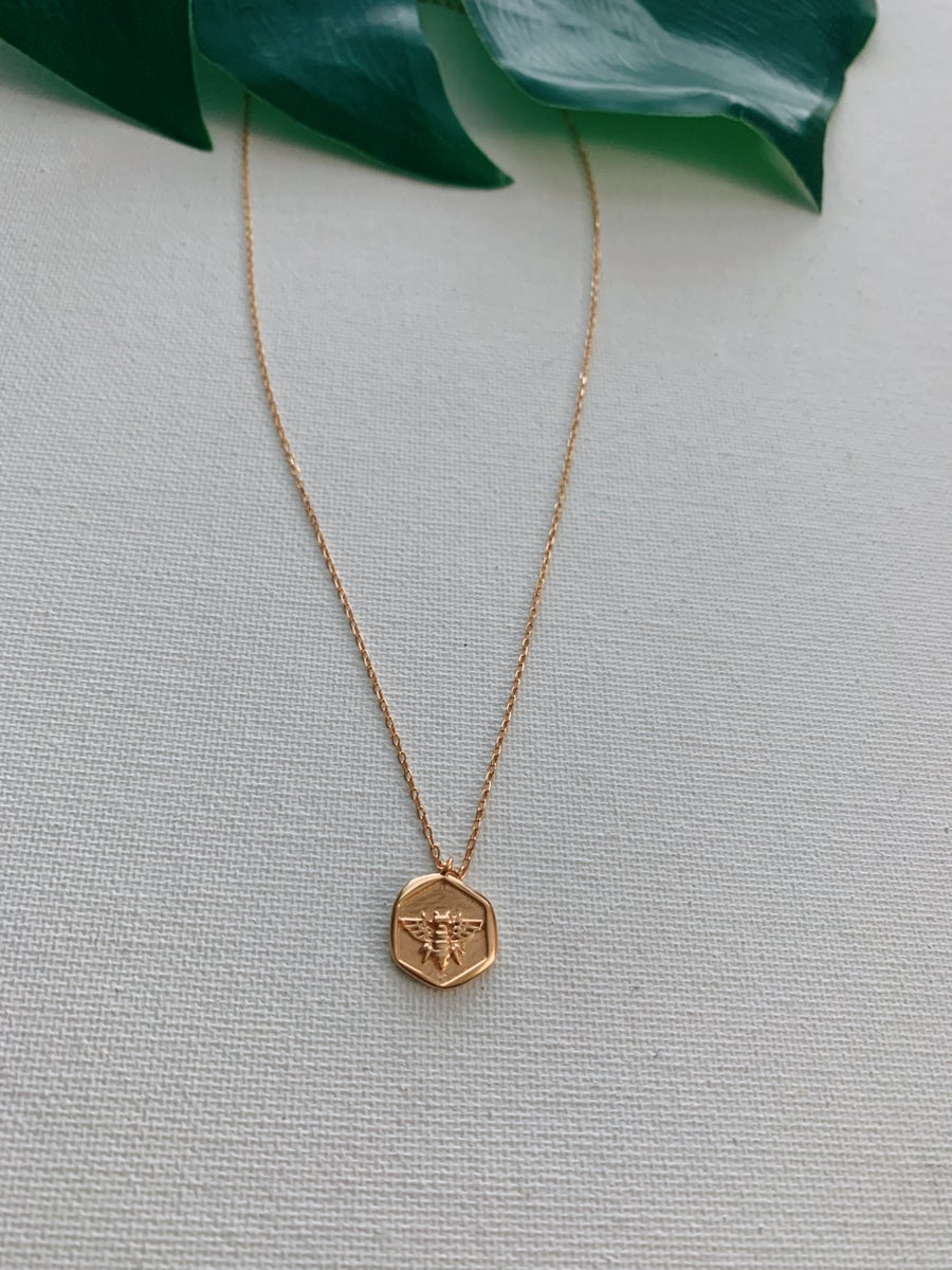 Image of BUMBLE • Rose Gold Bee pendant necklace