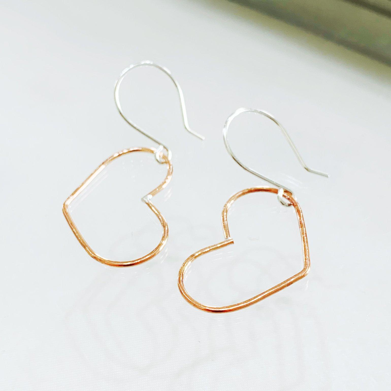 Image of Copper Heart Earrings