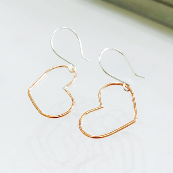 Image of Copper Heart Earrings