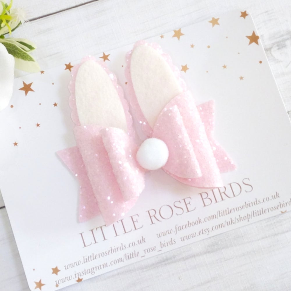 Image of Pink Glitter Bunny Bow