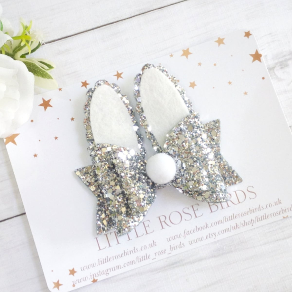 Image of Silver Glitter Bunny Bow
