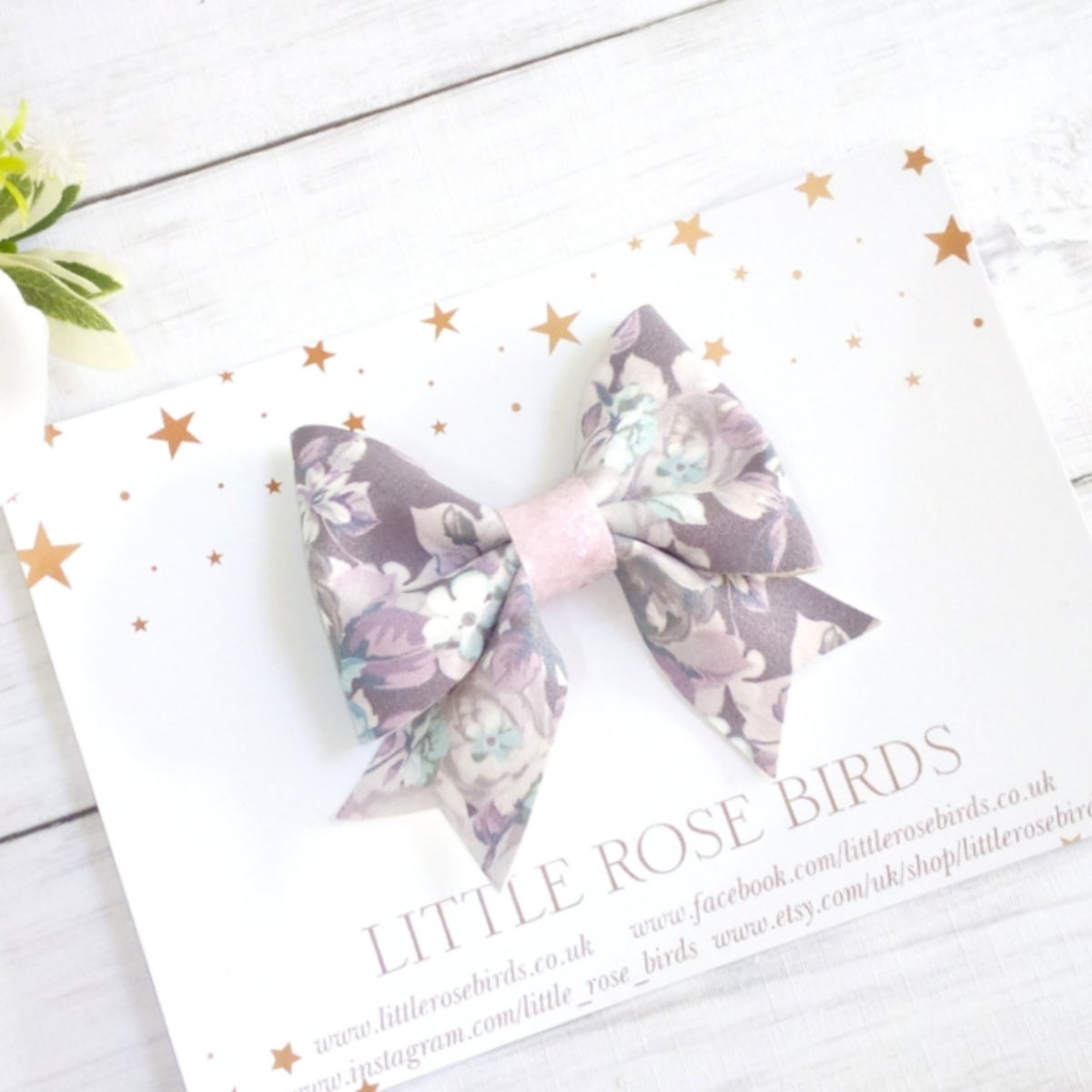Image of Grey Floral Suede Bow