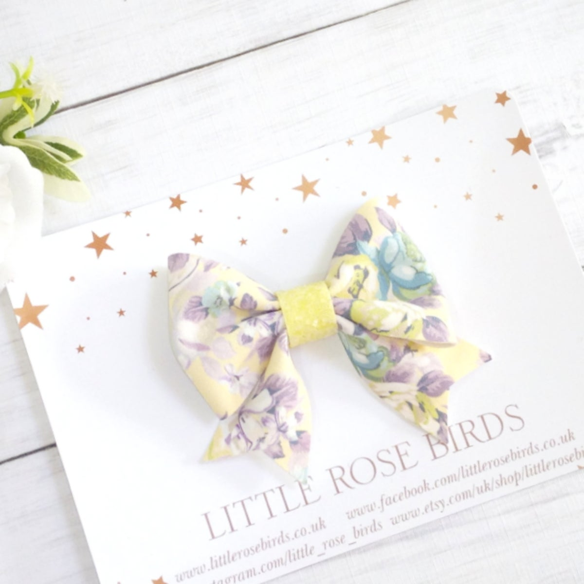 Image of Lemon Floral Suede Bow