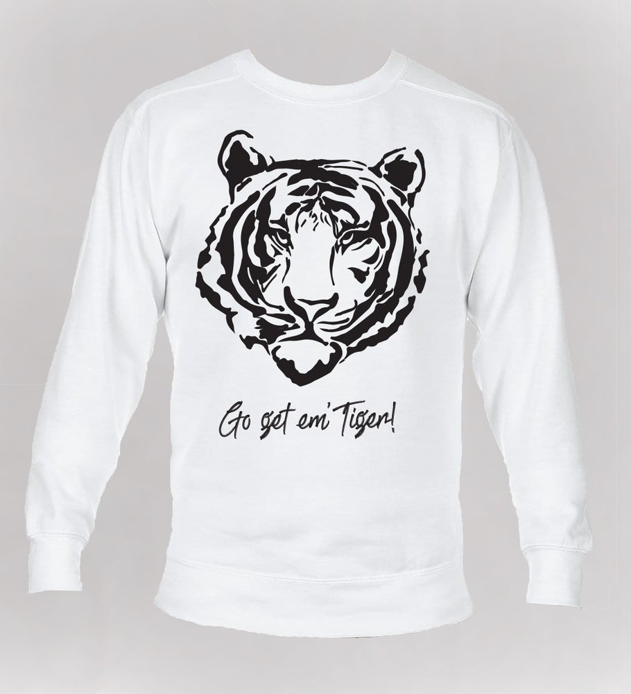 Image of Go Get Em' Tiger! CC SWEATSHIRT - White (USPS SHIPPING)