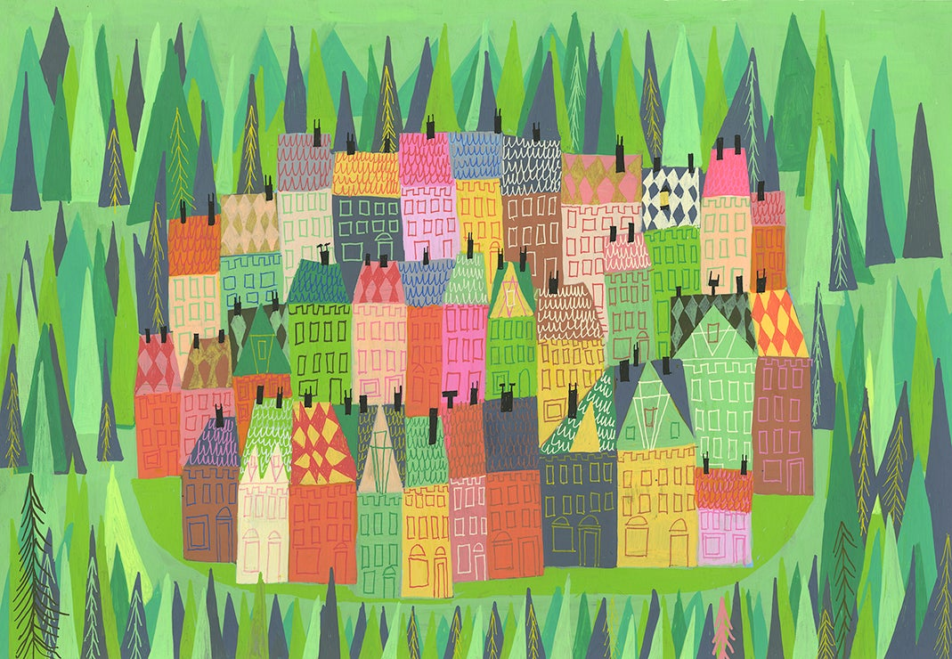 Image of A sleepy village. Limited edition print.