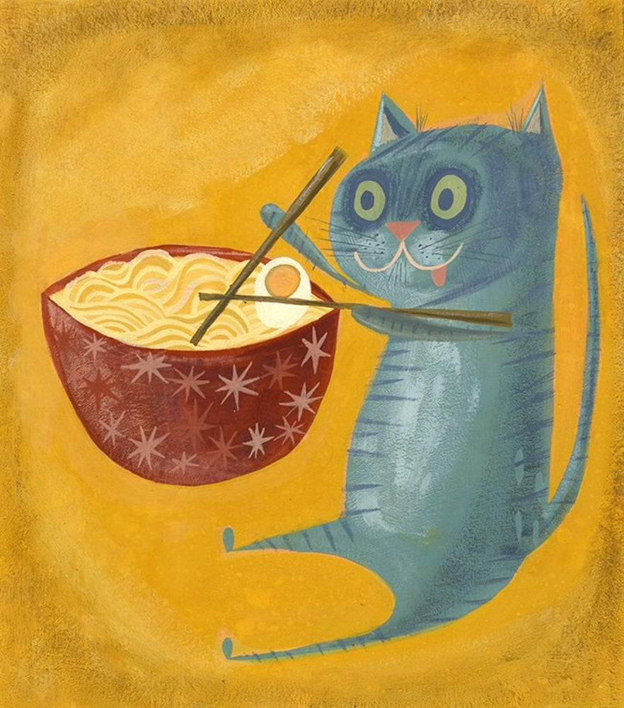 Image of Ramen Kitty. Limited edition print.