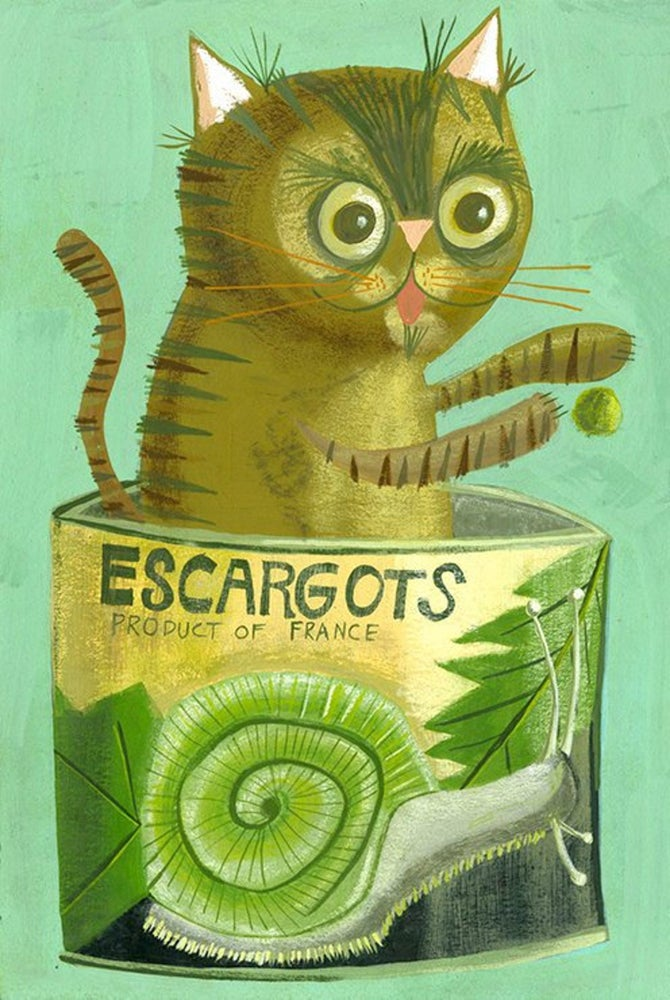 Image of Simon in an escargot cat. Limited edition print.