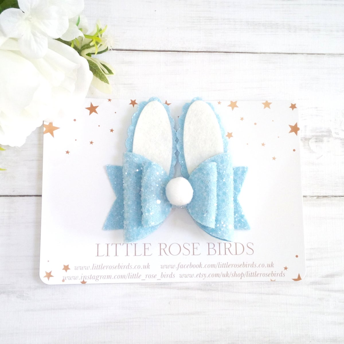 Image of Blue Glitter Bunny Bow