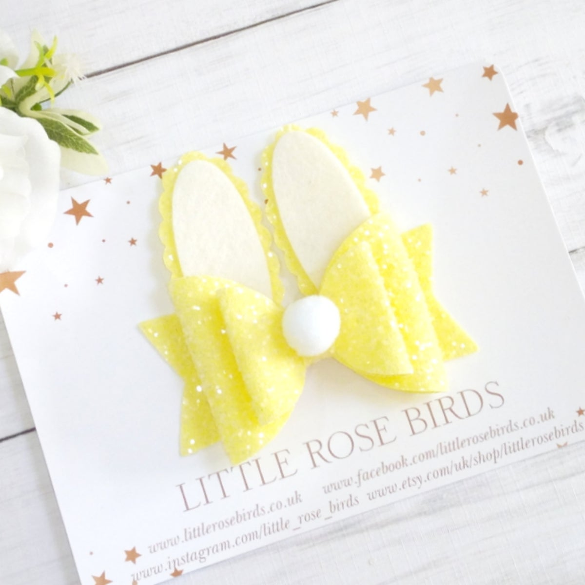 Image of Yellow Glitter Bunny Bow