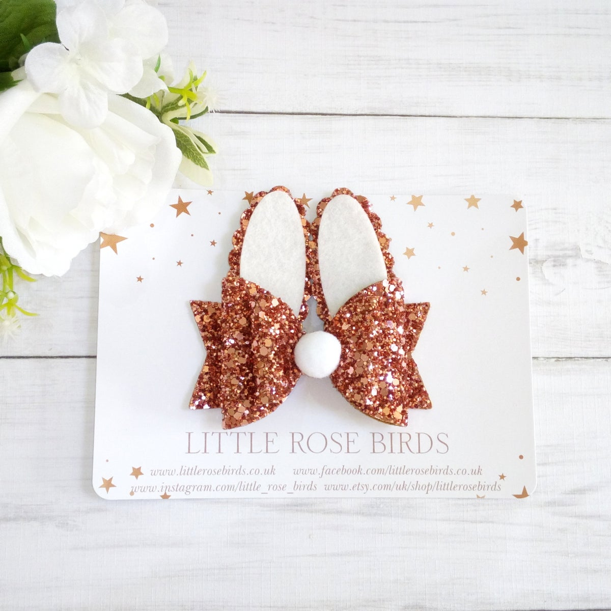 Image of Rose Gold Glitter Bunny Bow