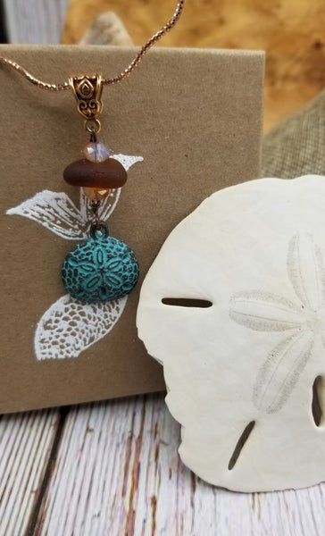 Image of Sea Glass- Agate- Sand Dollar- Stering Copper Chain- #293