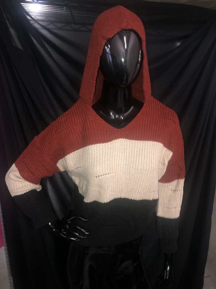 Image of Hooded Tri Color Sweater