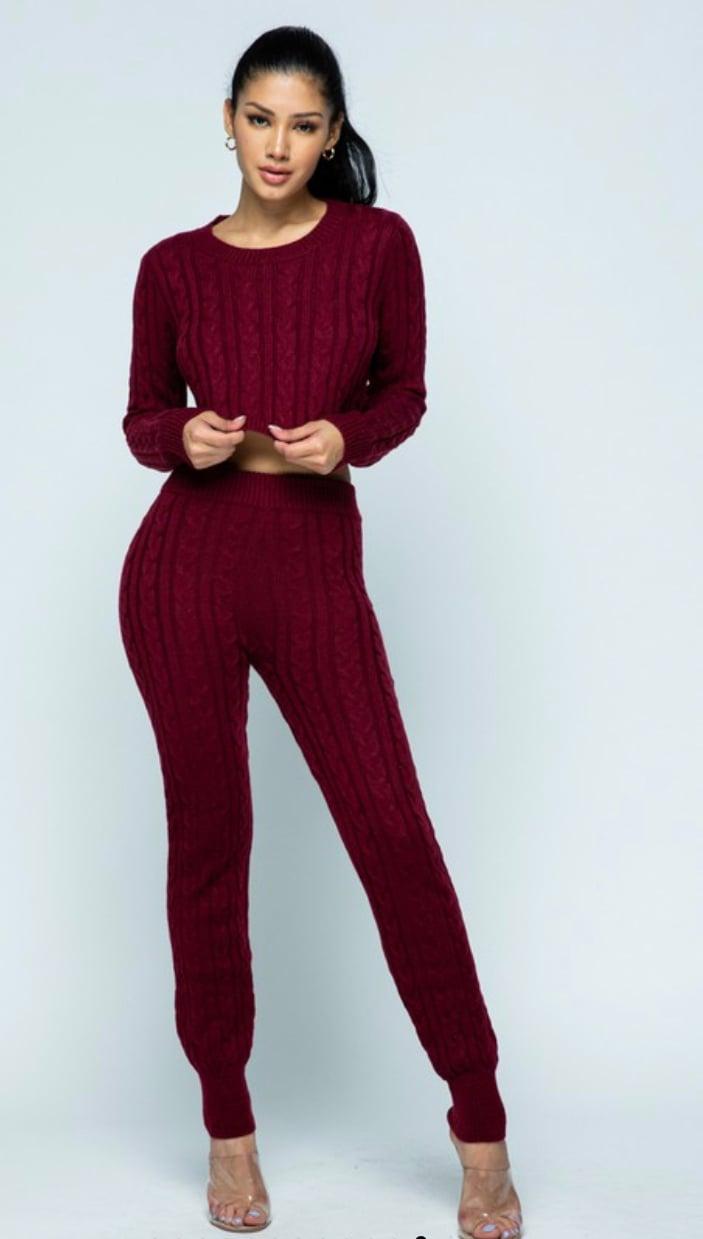 Image of Burgundy Knit Set