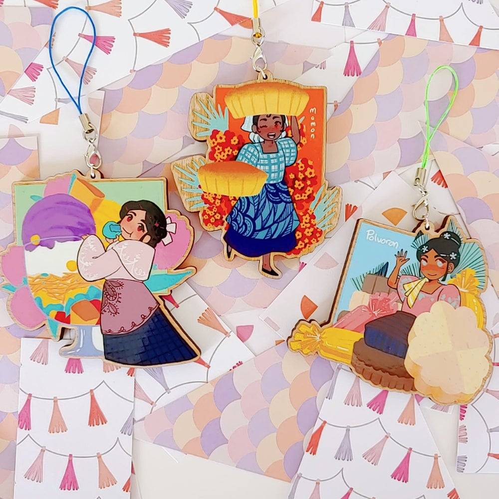 Image of Filipino Desserts - Wooden Charms + Sticker Combo
