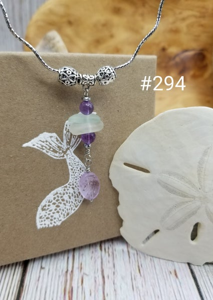 Image of Sea Glass- Amethyst- Bali Beads- Sterling Necklace- #294