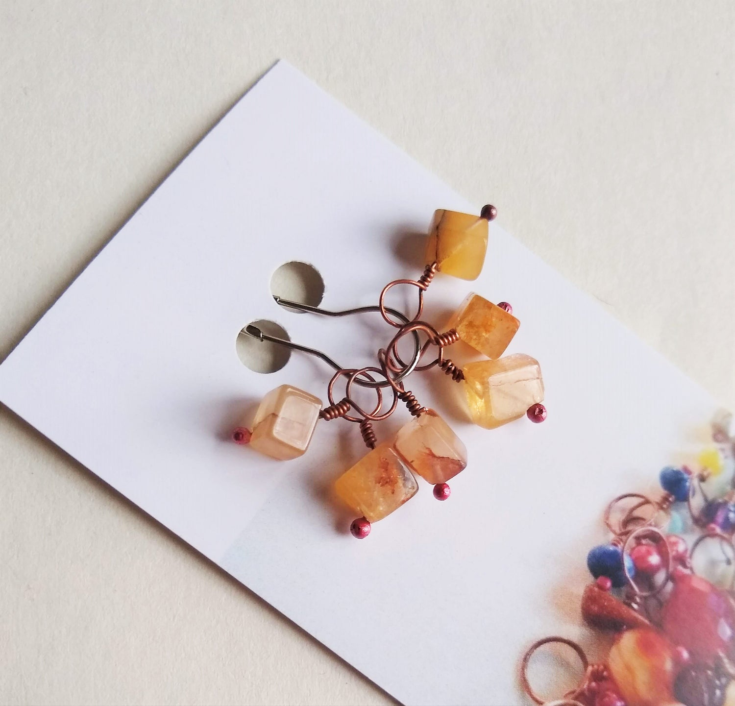 Image of Agate Cube Stitch Marker Sets